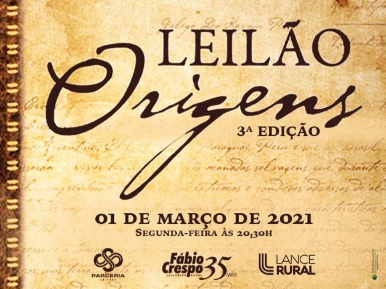 LEILÃO ORIGENS - 3ª EDIÇÃO - CATÁLOGO