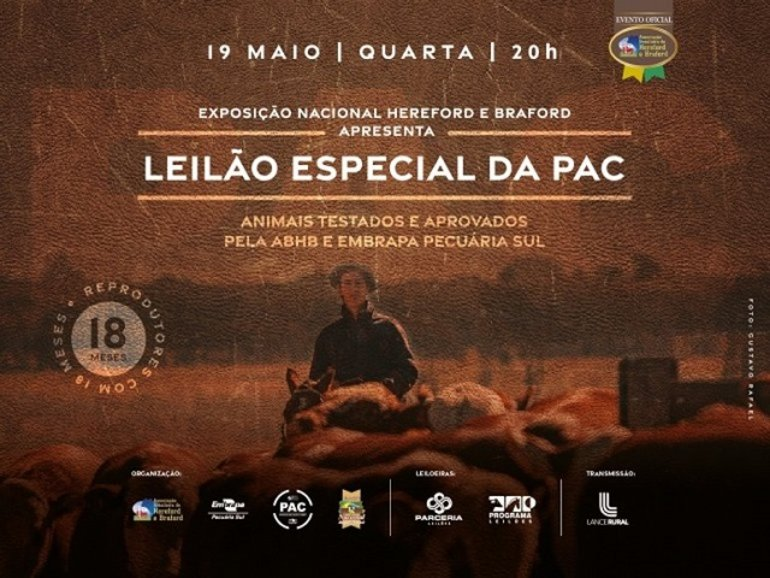 LEILÃO ESPECIAL DA PAC - EXPOSIÇÃO NACIONAL HEREFORD E BRAFORD - CATÁLOGO